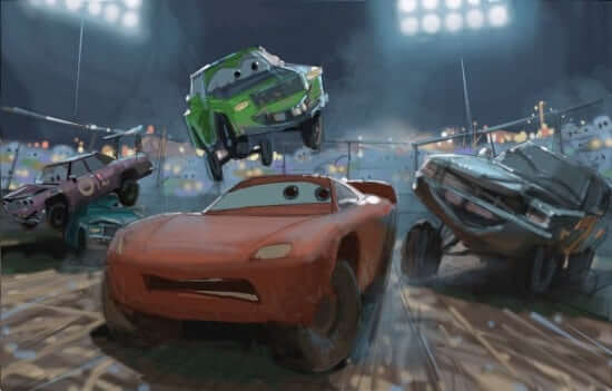 CARS 3 (Pictured) - Concept art by Production Designer Bill Cone. ©2017 Disney•Pixar. All Rights Reseved.