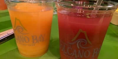 Volcano Bay Berry Blend Frozen Drink and Orange Mango Frozen Drink