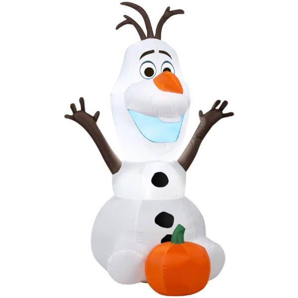 Inflatable Disney's Olaf with Pumpkin Yard Decoration