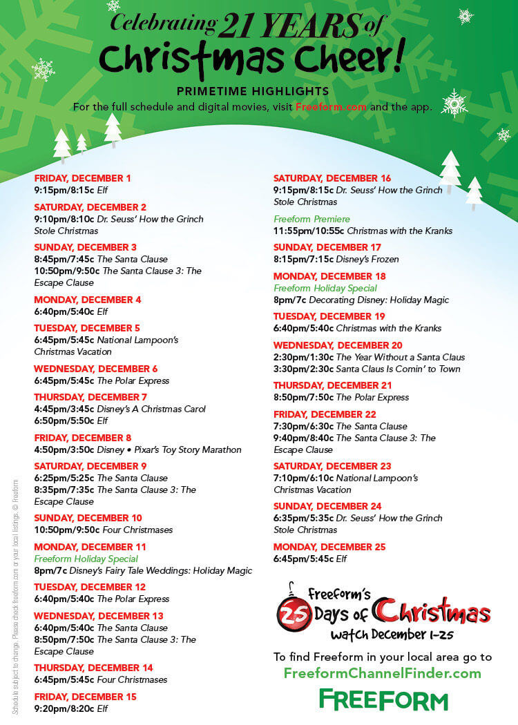 freeform 39 s 25 days of christmas schedule features holiday