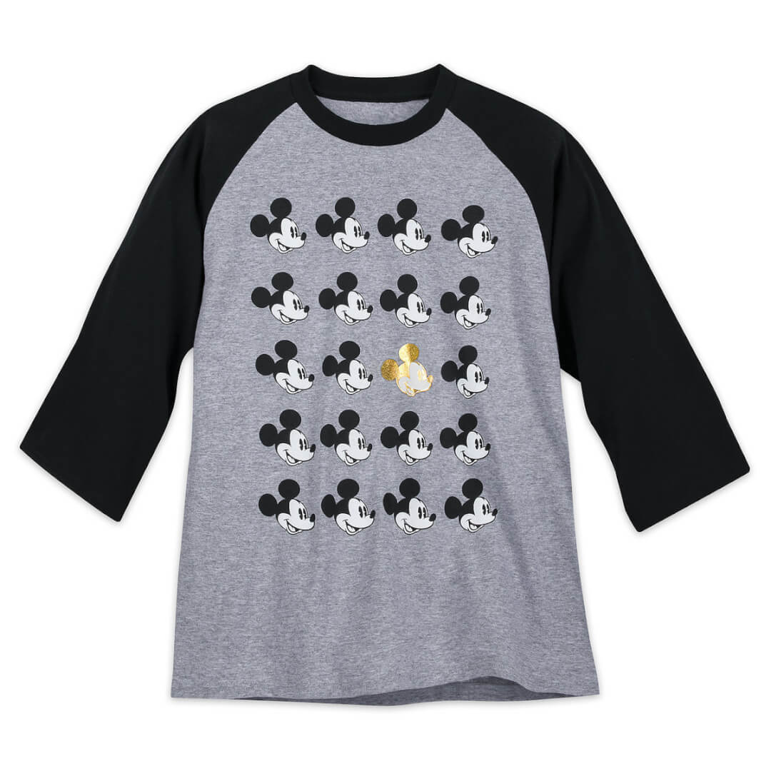 65862793fae40 Mickey stands out on this Raglan T-Shirt ($34.99). Mickey Mouse face screen  art adorns this heathered cotton jersey tee with one gold foil Mickey among  the ...