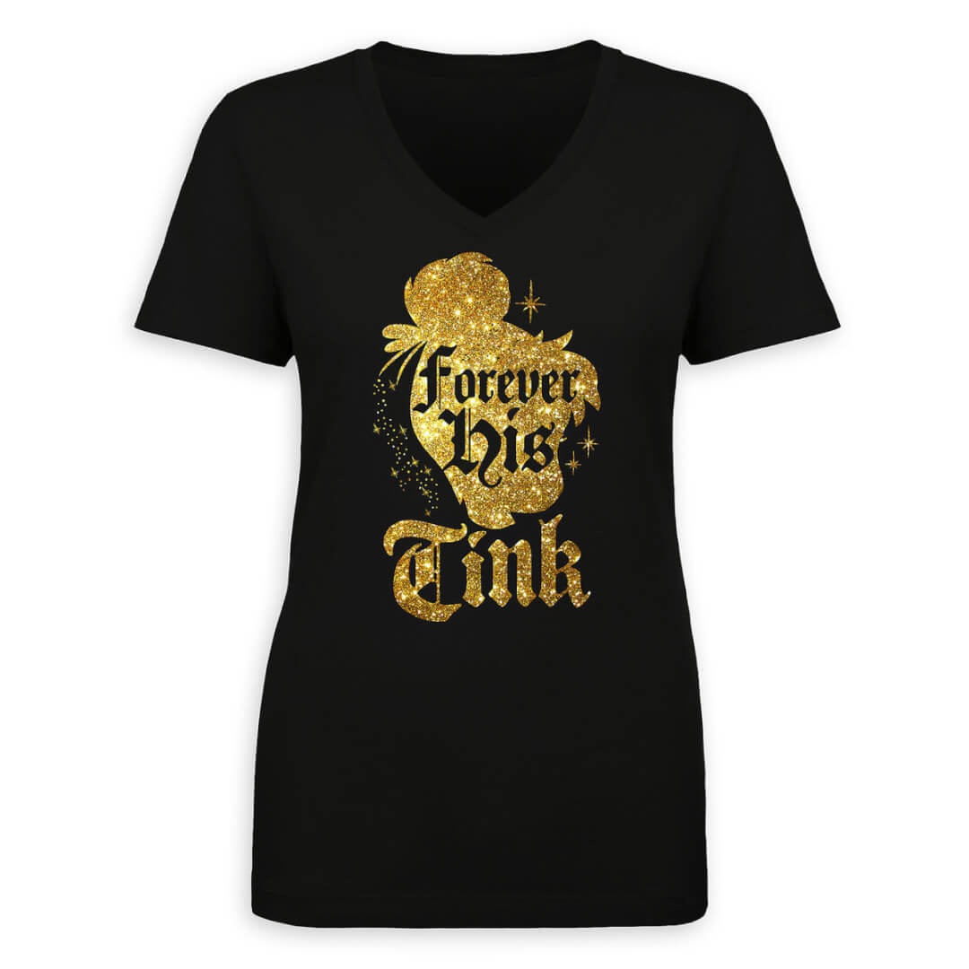 """a1263b6d3 Magic is forever on this limited release Tinker Bell T-Shirt ($29.95). The  black tee features Tinker Bell's silhouette in gold glitter with """"Forever  his ..."""