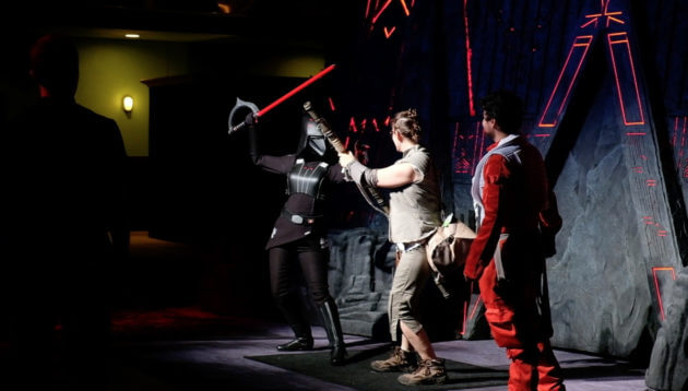 Rey, Captain Phasma, the 7th Sister, AWR Stormtroopers, Darth Vader and Ewoks