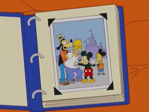 Homer Simpson at Disneyland, punched by Mickey Mouse