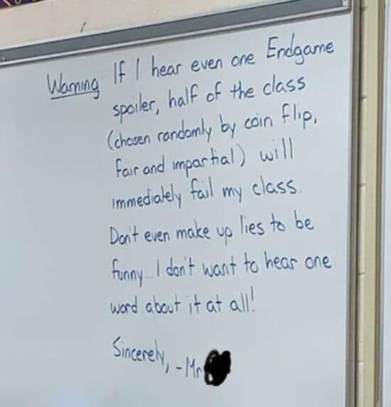 Teacher spoiler warning
