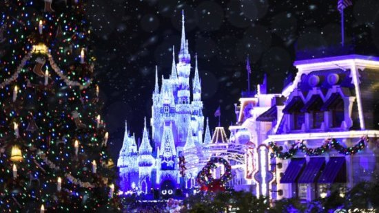 Magic Kingdom castle view at Christmas time