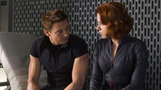 Jeremy Renner as Clint Barton AKA Hawkeye (left) with Scarlet Johansson as Natasha Romanoff AKA Black Widow (right) in Marvel's The Avengers