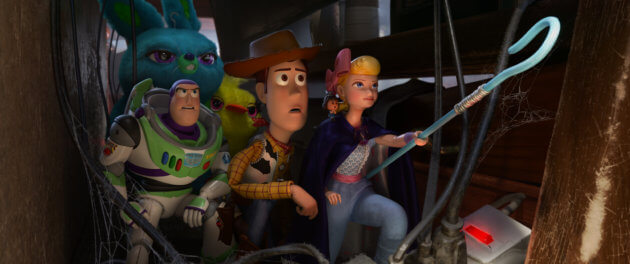 Toy Story 4 scene with Bo Peep, Woody, and Buzz Lightyear