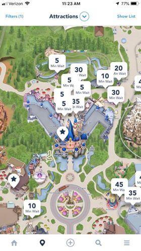 Disneyland app attraction wait times