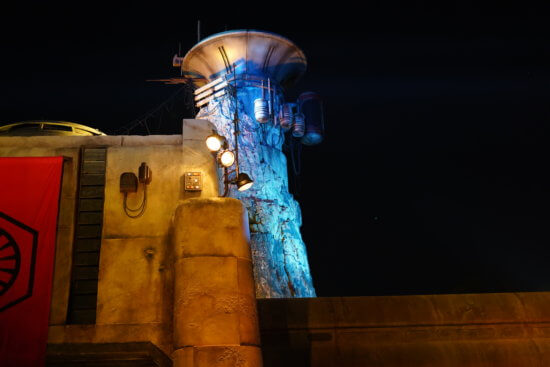 Star Wars Galaxy's Edge building after dark
