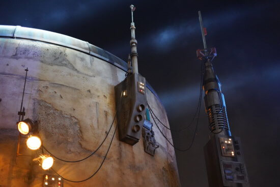 Galaxy Edge building at night