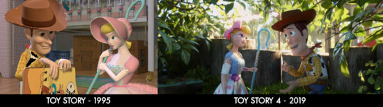 Woody and Bo Peep in Toy Story