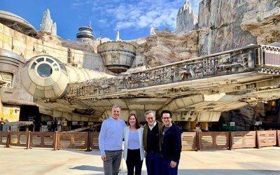 Bob Iger, Kathleen Kennedy and JJ Abrams at Star Wars Galaxy's Edge