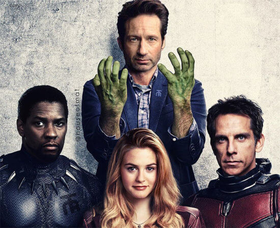 Denzel Washington as Black Panther, David Duchovny as The Hulk, Alicia Silverstone as Scarlet Witch, and Ben Stiller as Ant-Man.