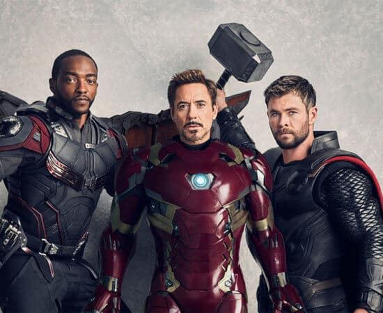 Falcon, Iron Man, and Thor