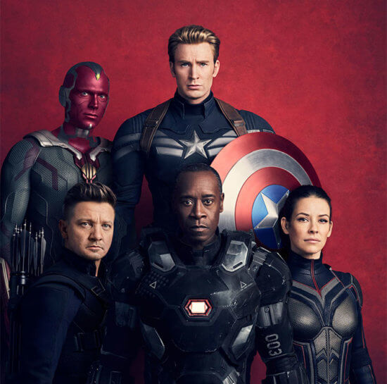 Captain America, Vision, Hawkeye, War Machine and Wasp