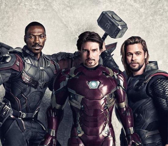 Iron Man as Tom Cruise, Eddie Murphy as Falcon and Brad Pitt as Thor.