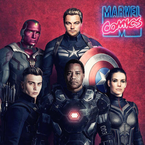 Captain America, Vision, Hawkeye, War Machine and Wasp, played by Dolph Lundgren, Leonardo DiCaprio, Johnny Depp, Cuba Gooding, Jr. and Sandra Bullock.