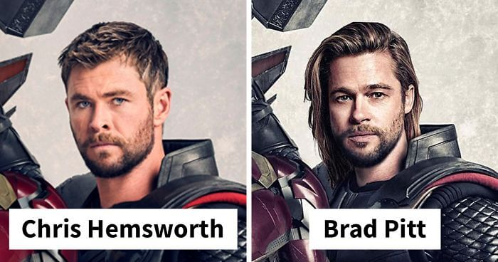 Thor played by Chris Hemsworth and reimaged by Brad Pitt