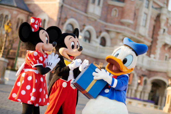 Donald Duck with Mickey and Minnie Mouse