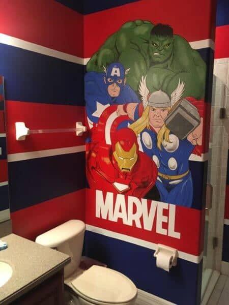 Marvel themed bathroom