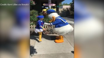Boy with Down Syndrome adorable interaction with Donald Duck