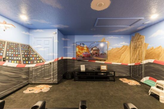 Walt Disney World vacation rental Car's themed media room