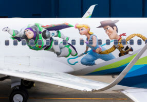 Alaska Airlines Toy Story 4 plane with Buzz Lightyear, Bo Peep & Woody