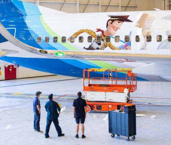 Alaska Airlines Toy Story 4 plane with Woody