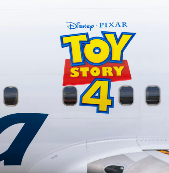 Alaska Airlines Toy Story 4 plane with logo