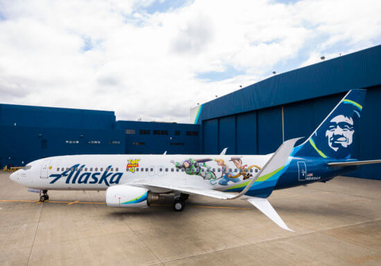 Toy Story 4 Alaska Airlines plane