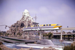 Submarine Voyage with the Disneyland Monorail above and Matterhorn in background