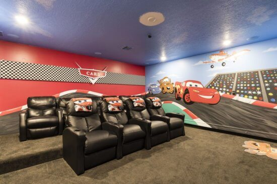 Walt Disney World vacation rental Car's themed theatre room