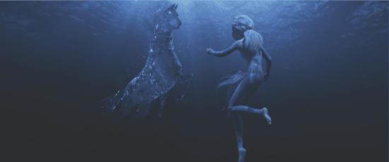 Elsa and underwater horse