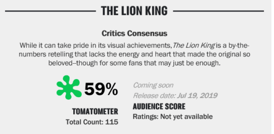 The Lion King reviews