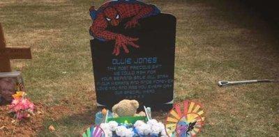 Temporary Spider-Man grave stone
