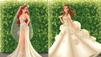 Ariel and Belle as Brides