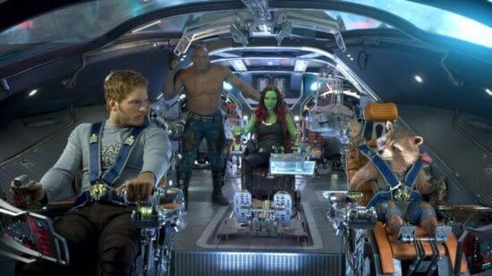 from left: peter quill, drax, gamora, groot, rocket