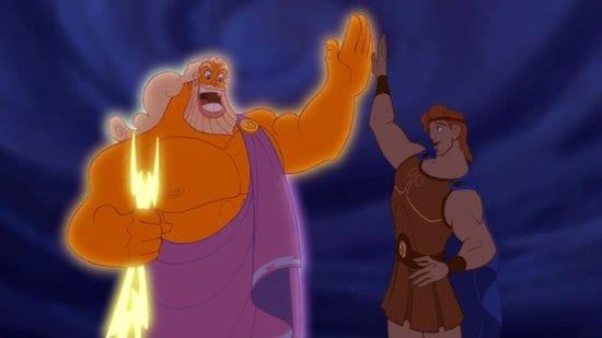 Hercules high fiving his dad