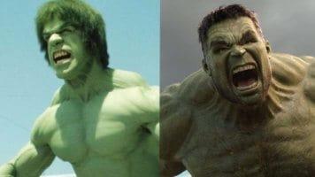 Lou Ferrigno Hulk and Mark Ruffalo Hulk