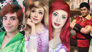 Richard's Disney transformations: Peter Pan Rapunzel, Ariel and Gaston