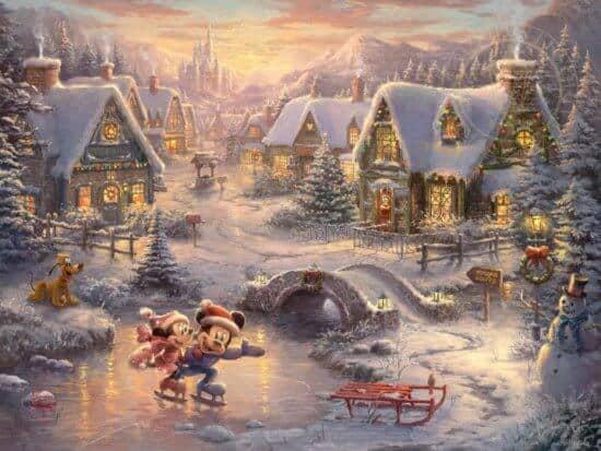 Thomas Kinkade's Mickey and Minnie - Sweetheart Holiday