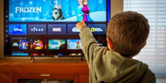 kid watching Disney+