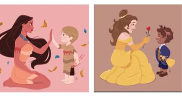 pocahontas and snow white boy art