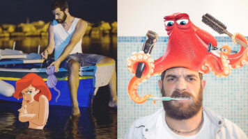Guy photoshops himself with Disney characters