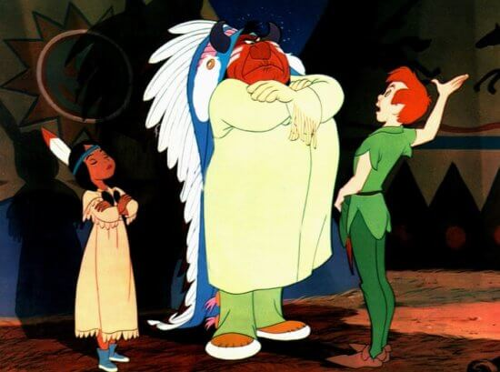 Peter greeting the Chief and Tiger Lily, Peter Pan