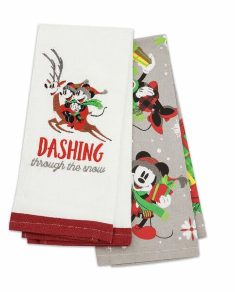 Disney Parks Santa Mickey Mouse and Friends Holiday Kitchen Dish Towel