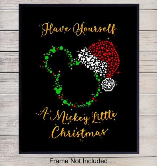 Mickey Mouse Santa Christmas Wall Art Print