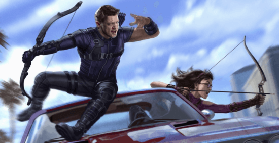 marvel concept art with jeremey renner as clint barton aka hawkeye and hailee Steinfeld as kate bishop