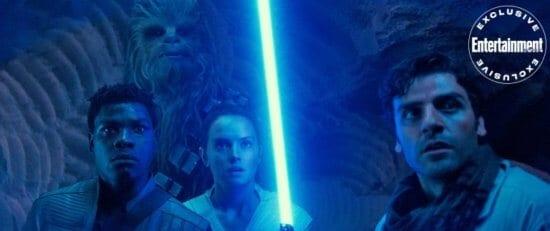 STAR WARS: THE RISE OF SKYWALKER John Boyega as Finn, Joonas Suotamo as Chewbacca, Daisy Ridley as Rey and Oscar Isaac as Poe Dameron